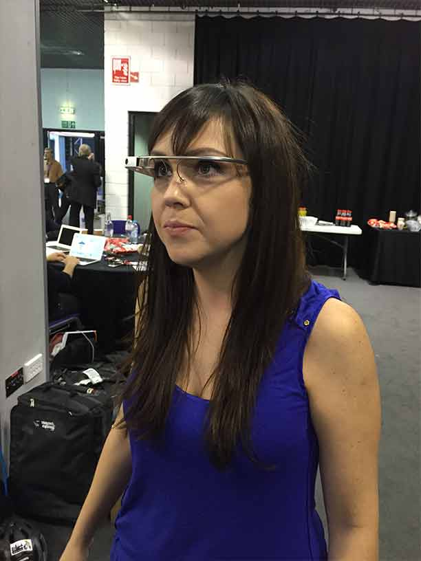 Louise tests out Google Glass