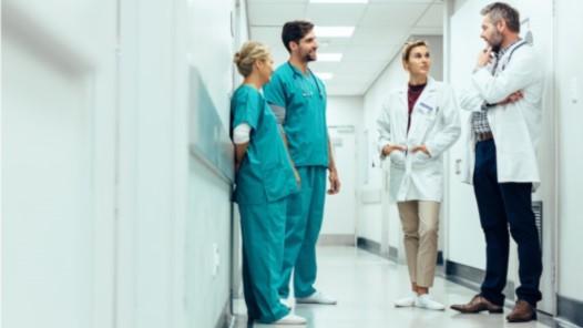 Doctors and nurses in the hallway