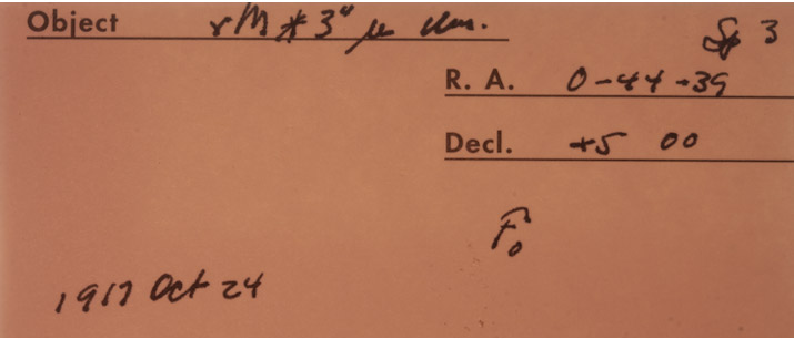 Figure 2: Plate sleeve with handwritten notes by observer WS Adams in 1917. (This historical record was provided by Carnegie Observatories, which maintains the Mt. Wilson archives)
