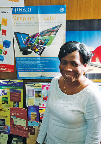 Grace Ajuwon, Senior Librarian of Reference and Information Services at the E Latunde Odeku Medical Library, College of Medicine, University of Ibadan, Nigeria.