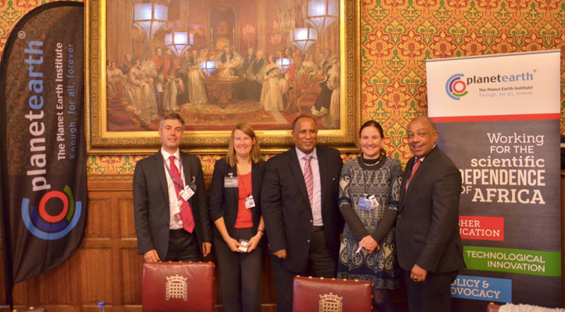 Roundtable speakers in the UK House of Parliament: Professor Tim Wheeler, PhD, Deputy Chief Scientific Adviser at DFID; Alicia Wise, PhD, Director of Universal Access at Elsevier; the Ethiopian Ambassador HE Berhanu Kebede; Susan Murray, Director of African Journals OnLine and Rt Hon Lord Paul Boateng (Chair).