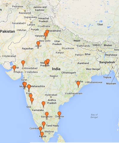 This map shows the towns and cities of the 1,200+ online webinar participants.