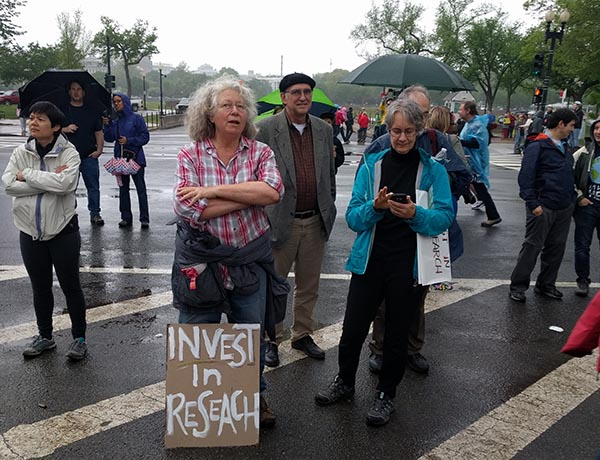 "These scientists in Washington, DC, get to the point with their messaging: ""Invest in research."" (Photo by William Gunn)"