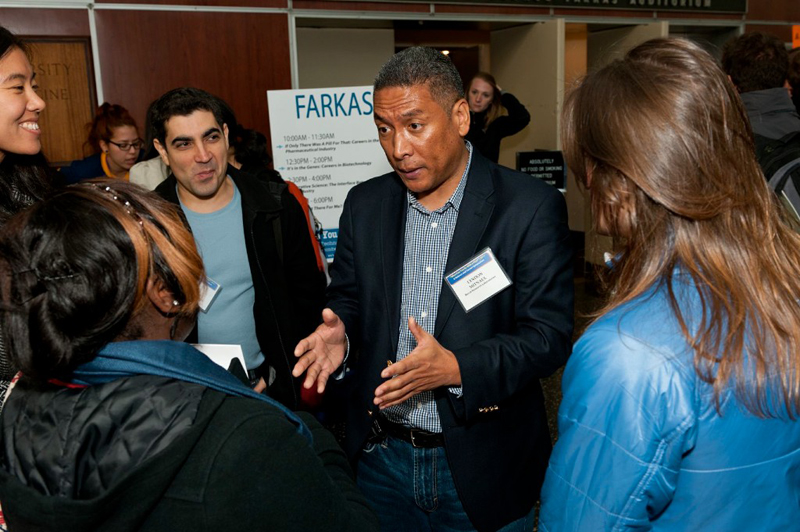 "Lyndon Mitnaul of Merck Research Laboratories talks to PhD students at a symposium called ""What Can You Be With a PhD?"" The event was held at the NYU School of Medicine in conjunction with graduate and postdoctoral programs at Yale, Columbia, Weill Cornell Medical College and other schools in New York."