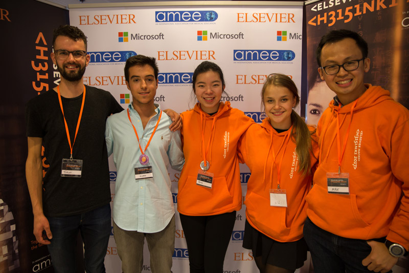 Patient X team winning team photo at Elsevier Hacks