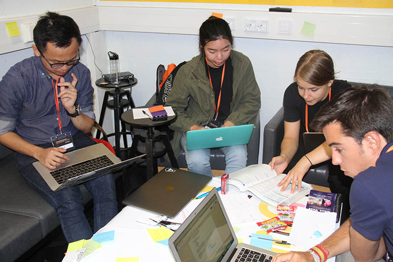 The PatientX team at work in the hackathon (Photo courtesy of BeMyApp)