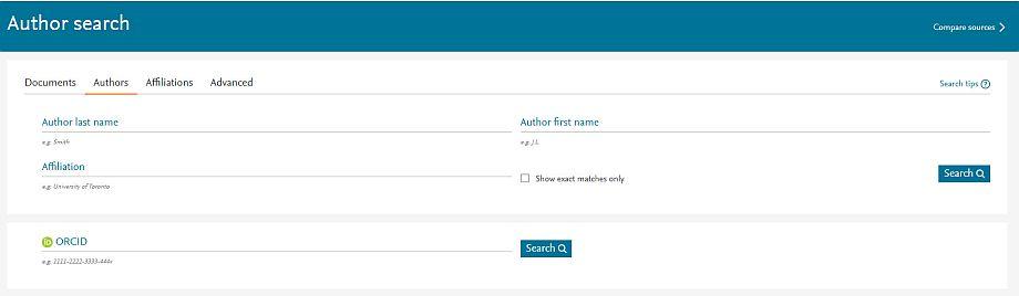 Wyszukiwanie profilu autora za pomocą wyszukiwarki