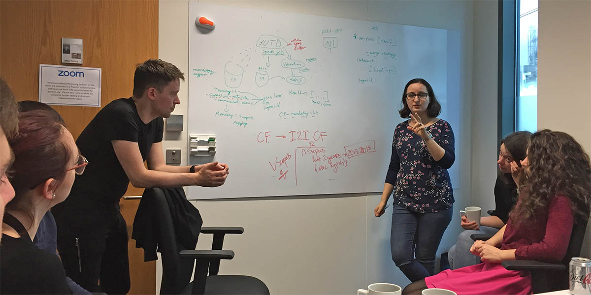 Maya Hristakeva, Data Science Manager at Elsevier, leads a meeting. To develop recommenders, her team works closely with the Engineering Team and product manager in Agile squads.