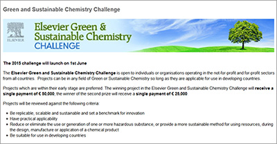 Elsevier Green & Sustainable Chemistry Challenge