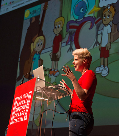 Prof. Doris Rusch, PhD, talks about creating games to mimic the struggles of anorexia and the anxiety of OCD, at the 12th Annual Games for Change Festival in New York City. (Photo by Gabi Porter)