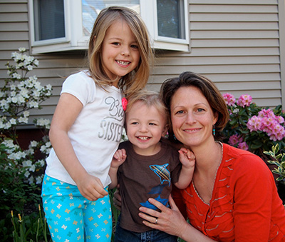 Anne Granger, PhD, with daughter Elly and son Nils.