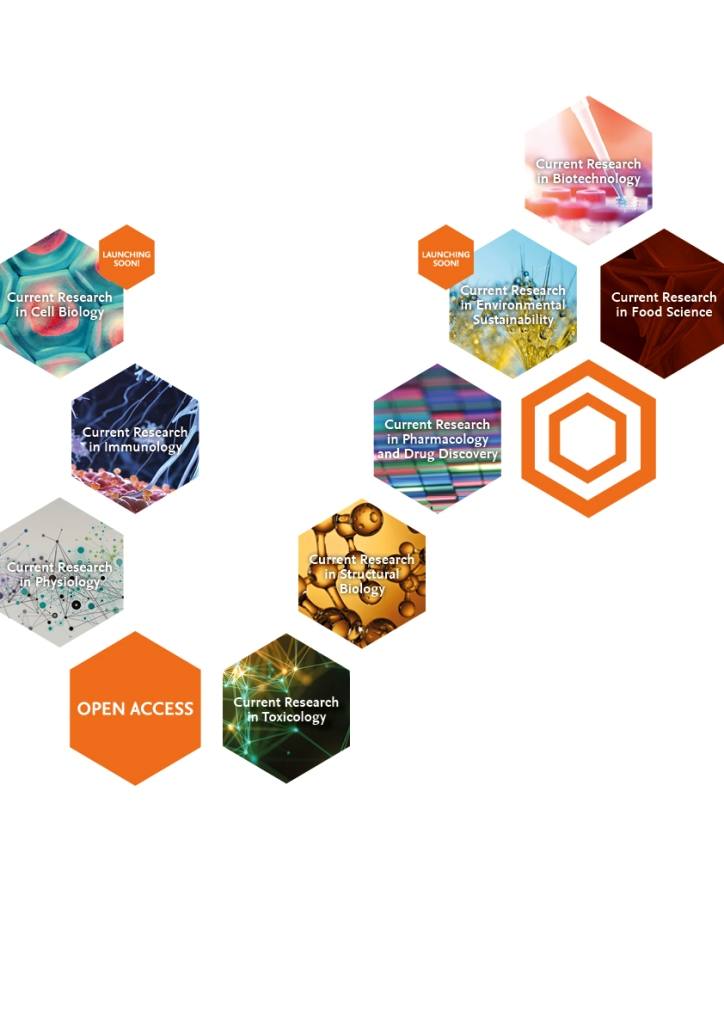 11 hexagons arranged in a geometric pattern, displaying the names of the CORE suite journals.