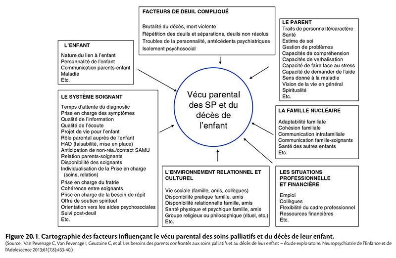 Figure 20.1. C artographie des facteurs infl uençant le vécu parental des soins palliatifs et du décès de leur enfant.