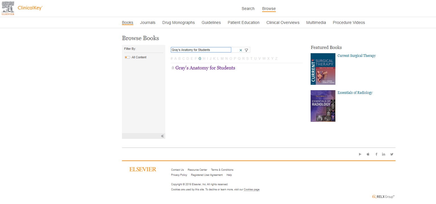 Screenshot Browse Books page