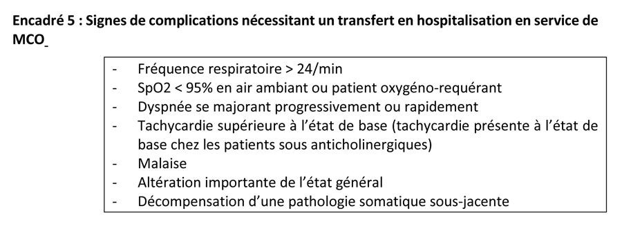 Encadré 5 : Signes de complications nécessitant un transfert en hospitalisation en service de MCO