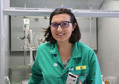 Karina Pombo-García in her lab at the Institute of Radiopharmaceutical Cancer Research in the Helmholtz Zentrum Dresden-Rossendorf (HZDR) in Germany, where she is a PhD candidate.