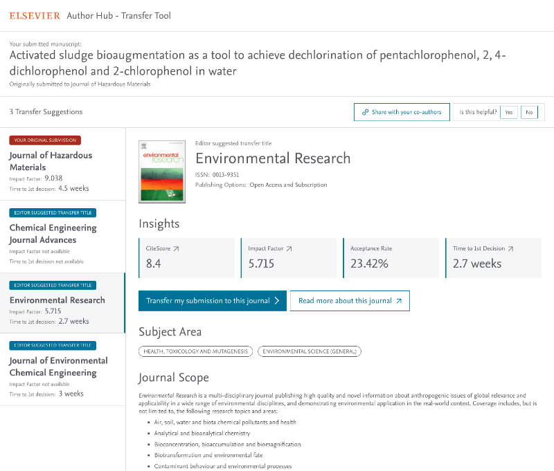 A screenshot showing Elsevier's Transfer Tool