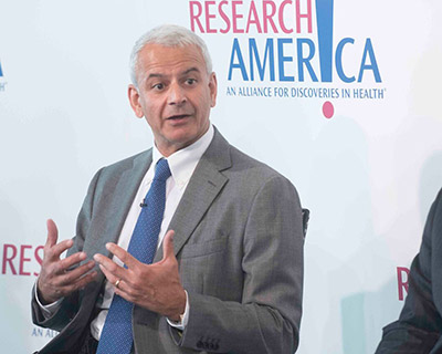 Elsevier CEO Ron Mobed discussed the government's role in finding the right balance between funding applied medical research.