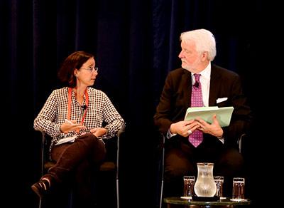 Luisa Massarani, PhD, and moderator Robert Lee Hotz.