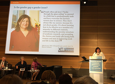 At the Gender Summit Europe in Berlin, Cell Press CEO Emilie Marcus, PhD, focused on the role science publishers can play to advance gender equality in science. (Photo © Ben Pollitzer)