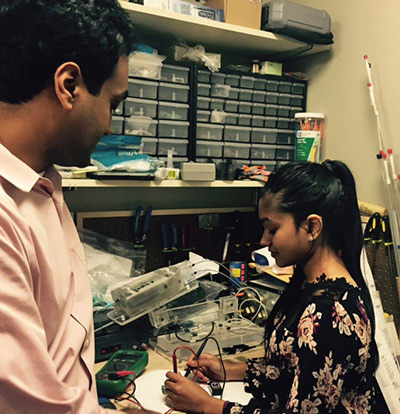 Azreen Hasan with her mentor, Dr. Govindarajan Srimathveeravalli, PhD, a biomedical engineer at Memorial Sloan Kettering Cancer Center.