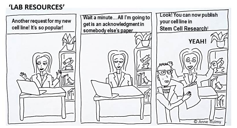 Researchers who develop an original resource, such as a new cell line, can be credited with a publication by publishing a description of it as a Lab Resource article. (Cartoon by Anne Ruimy)