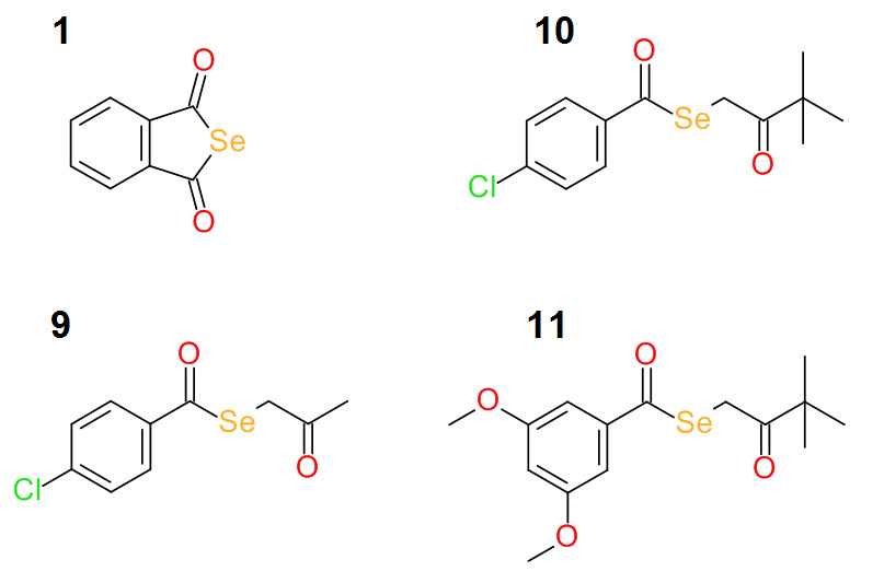 Structure of the four most active selenocompounds. (Image was featured in the original research article by Domínguez-Álvarez et al in <em>Bioorganic &amp; Medicinal Chemistry Letters</em>, June 2016)
