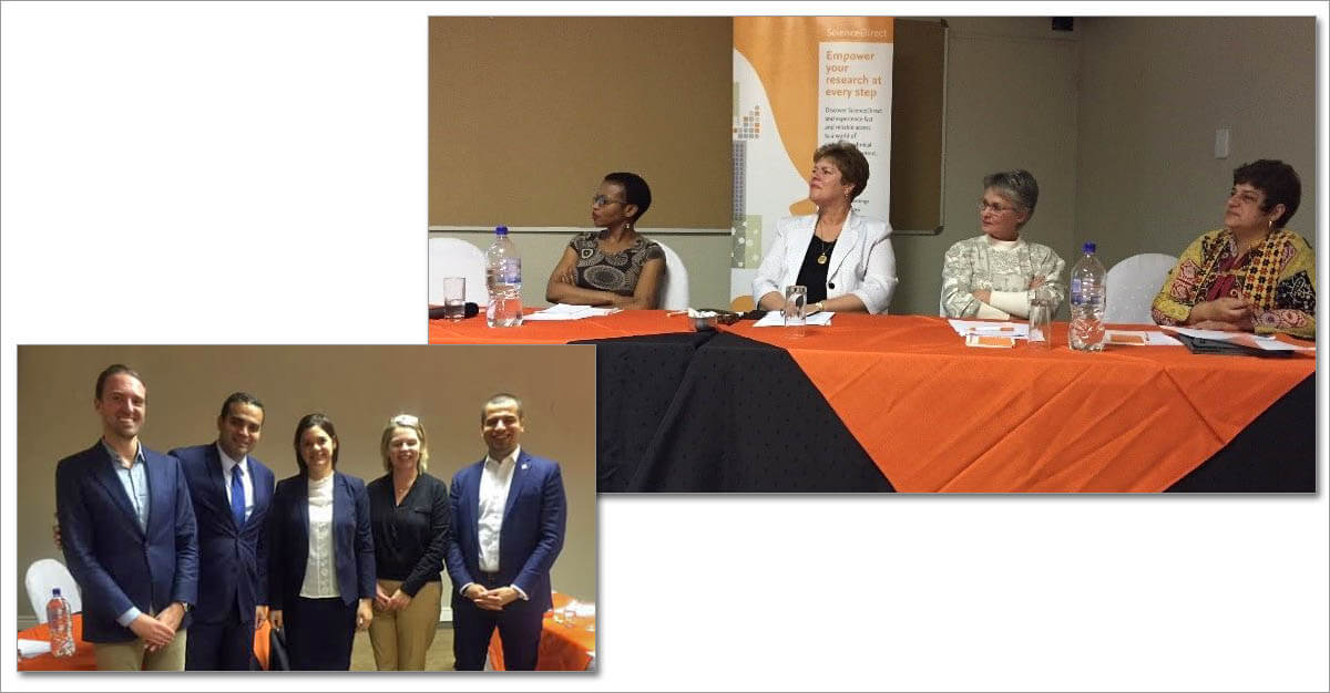 The Library Connect panel (left to right): Nomoya Mahlangu, Director of Client Services, University of Johannesburg; Sunette Steynberg, Research Librarian, University of Pretoria Department of Library Services; Maryna Van Den Heever, Manager, Research Support Services: University of the Witwatersrand Libraries;  and Erika Rood, Manager of Information Services, NWU Biblioteekdienste). Lower left: Members of the Elsevier Africa team, from left to right: Wim Meester, Mohamed Sayed, Karen Metcalf, Lucia Schoombe and Mohamed Amir.