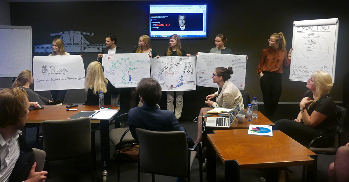 Students at AIESEC's YouthSpeak Forum show their ideas for Elsevier projects.