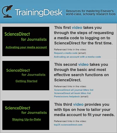 TrainingDesk: ScienceDirect for Journalists