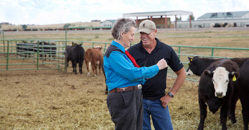 Dr. Temple Grandin talks shop with her research and business partner Mark Deesing after they teach a class together at Colorado State University. (Photo by Alison Bert)