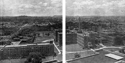 The Meharry Medical Campus, circa 1933. The building on the left is Hulda Lyttle Hall. The first entrance of the building on the right leads to the dispensary. The second entrance on the right opens into the old George W. Hubbard Hospital, named after Meharry's first President. These buildings still stand on Dr. DB Todd Jr. Blvd. in Nashville, Tennessee. (Source: Richard deSHazo, American Journal of Medicine)