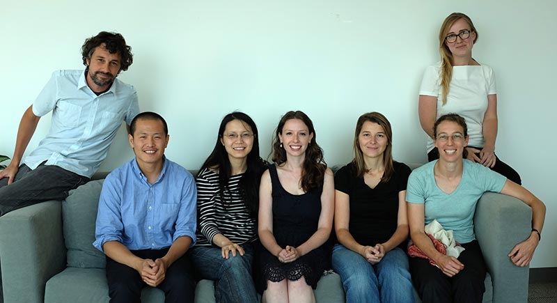 <strong>The 40 under 40 team at Cell:</strong> (left to right) Andy Smith, Senior Managing Editor; Andrew Tang, Art Program manager; Jijaying Tan, PhD; Scientific Editor; Julie Fiorilla, Production Assistant; Mirna Kvajo, PhD; Scientific Editor; Karen Carniol, PhD, Deputy Editor; and Anna Hofvander, Editorial Assistant (Photo by Andrew Ferrell)