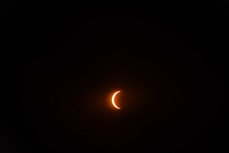 The solar eclipse approaches totality in St. Louis. (Photo by Jeffery Bryant)