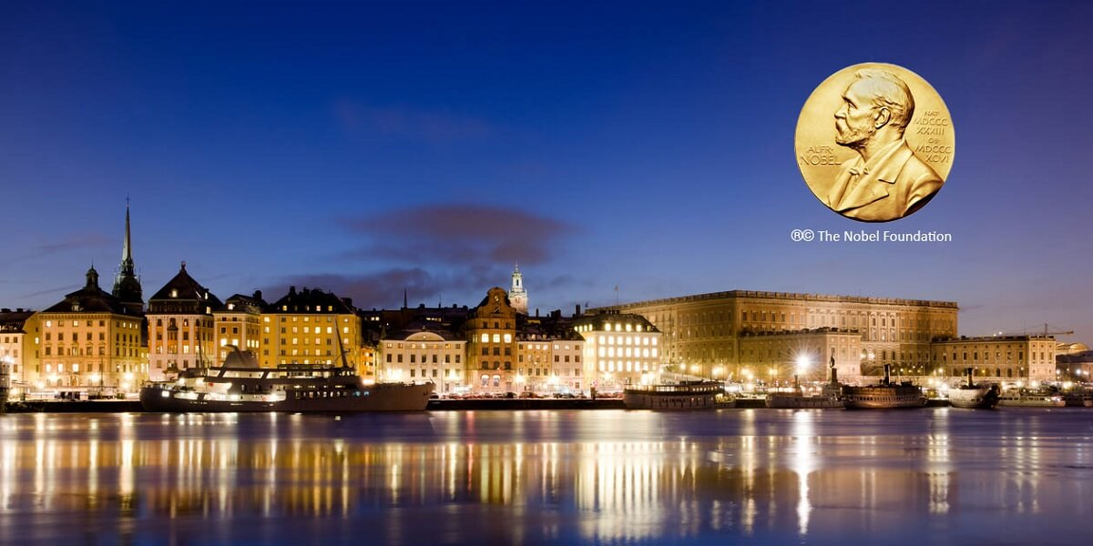 Photo of Stockholm skyline © istock.com/JohanSjolander; Nobel Prize medal © ® Nobel Foundation.