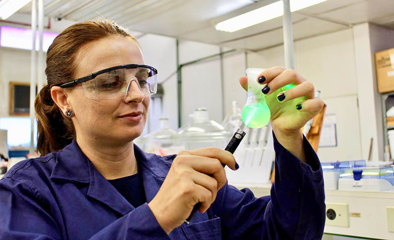 Prof. Camila Alves de Rezende in her chemistry lab at the University of Campinas in in São Paulo, Brazil.