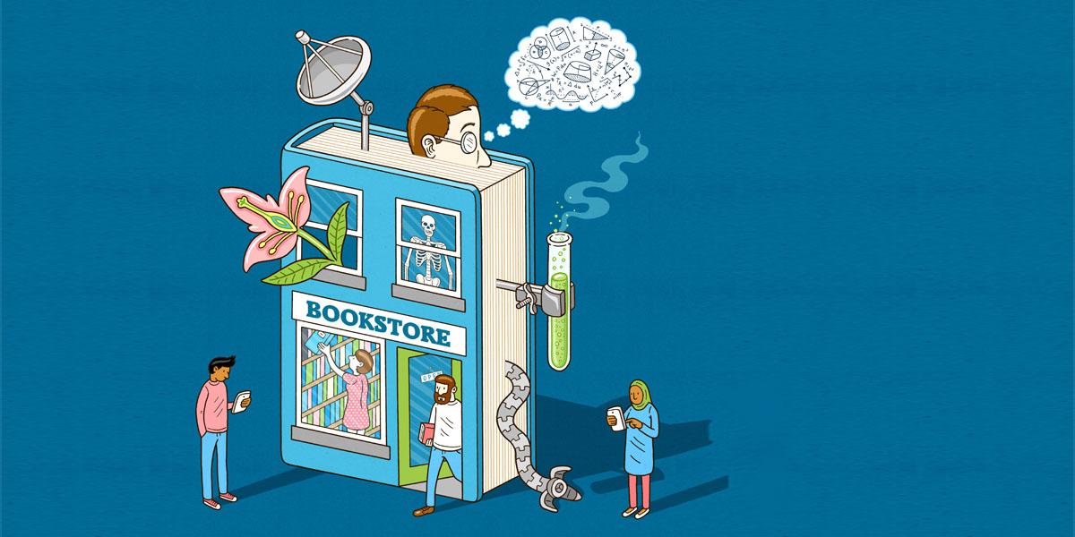 Elsevier bookstore illustration