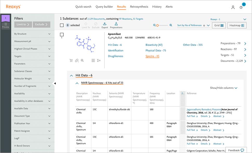 Experimental properties screenshot