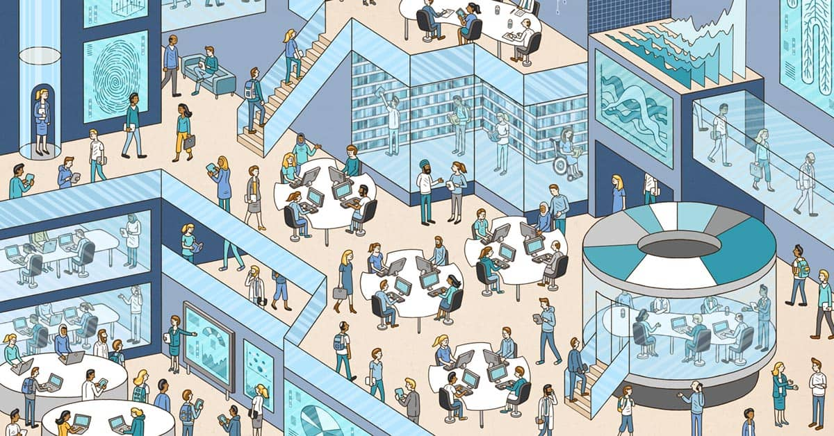 Elsevier editorial illustration: World of Research