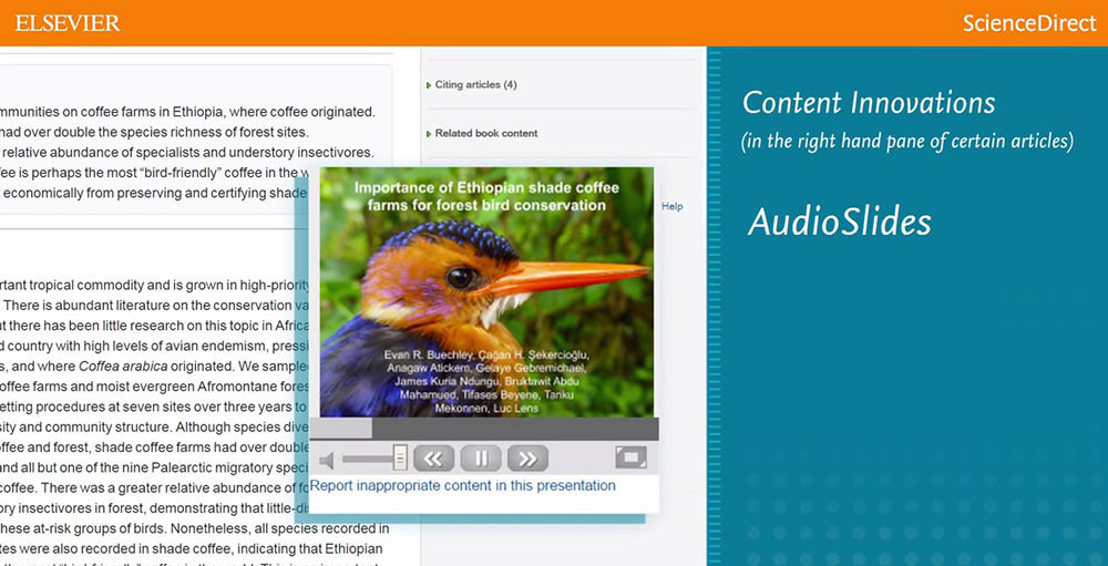 AudioSlides let authors publish a short webcast-style presentation with their article to tell   readers about their research in their own words.