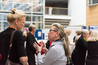 Prof. Marja Makarow, PhD, Vice-President for Research at the Academy of Finland and Chair of the Board at NordForsk, talks to a delegate after speaking about the Nordic cooperation on gender equality measures. (Photo © Ben Pollitzer)