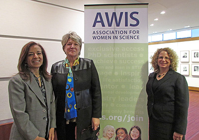 Dr. Bahija Jallal, President-Elect of AWIS, Executive VP of AstraZeneca and Head of MedImmune; Janet Bandows Koster, Executive Director and CEO of AWIS; and Dr. Holly Falk-Krzesinski, VP of Strategic Alliances for Global Academic Relations at Elsevier. (Photos by Dr. Natasha Wadlington)