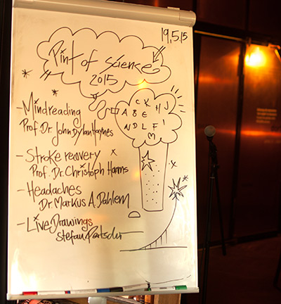 Pint of Science presenters aim to make their science fun and accessible to the public. Here's an agenda from a 2015 event in Berlin.