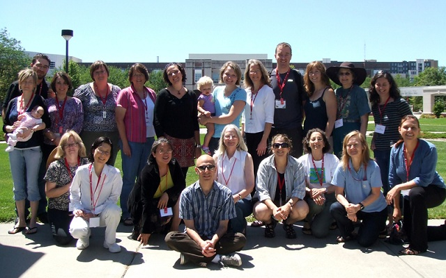 <strong>Participants in the STEM Family-Friendly Writing Retreat at the University of Nebraska, Lincoln.</strong>On the front row are Principal Investigators Trish Wonch-Hill, PhD, (far right on front row) and Mary Anne Holmes, PhD, (next to her).