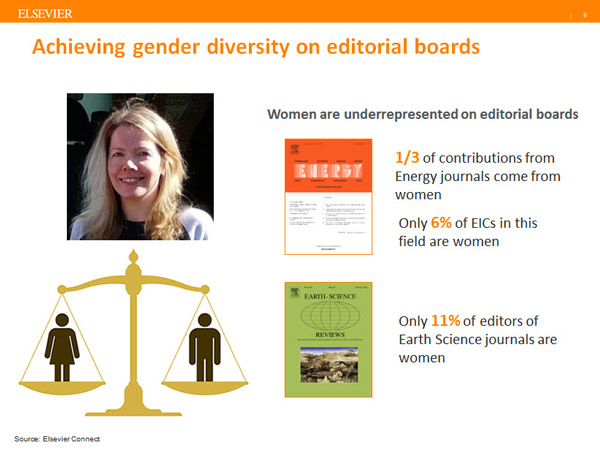Elsevier Publishing Director Deborah Logan has worked to reduce bias on editorial boards. (Source:  <a href=&quot;https://www.elsevier.com/editors-update/story/publishing-trends/The-importance-of-a-gender-balanced-editorial-team&quot;>Editors' Update</a>)