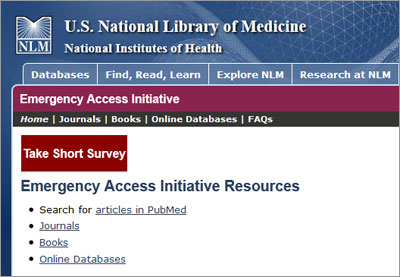 Through the Emergency Access Initiative, STM publishers provide free access to books, journals and databases to health care professionals and libraries affected by disasters.