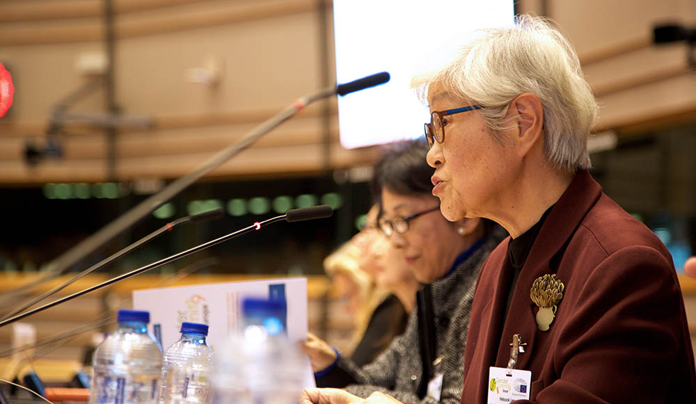 Dr. Heisook Lee is a senior researcher at GISTeR, Gendered Innovations in Science and Technology Research, and former director of WISET. Here, she is speaking at the Gender Summit Europe at the European Parliament in Brussels. In May, she will speak at the Gender Summit Asia-Pacific in Tokyo. (Photo by Alison Bert)