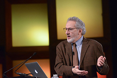Donald Ingber, MD, PhD, Director of the Wyss Institute for Biologically Inspired Engineering at Harvard University, gives a keynote address at the Society for Laboratory Automation and Screening's 2015 conference and exhibition in Washington, DC. (Photo courtesy of the Society for Laboratory Automation and Screening)
