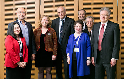 Supporters of the Cambridge Equality Collaboration's Delivering Equality: Women and Success Summit ( left to right): Professor Simonetta Manfredi, Oxford Brookes University; Professor David Grayson CBE, Chairman of Careers UK and Director of Doughty Centre for Corporate Responsibility, Cranfield University School of Management; Ylann Schemm, Elsevier Foundation Program Director; Prof. Sir Leszek Borysiewicz, Vice-Chancellor, University of Cambridge; Antoinette Jackson, Chief Executive, Cambridge City Council; Professor Morten Huse, BI Norwegian Business School; Professor Judith Lieu, Professor of Divinity and Gender Equality Champion, University of Cambridge; Professor Jeremy Sanders CBE, Pro-Vice-Chancellor for Institutional Affairs, University of Cambridge (Photo courtesy of University of Cambridge)