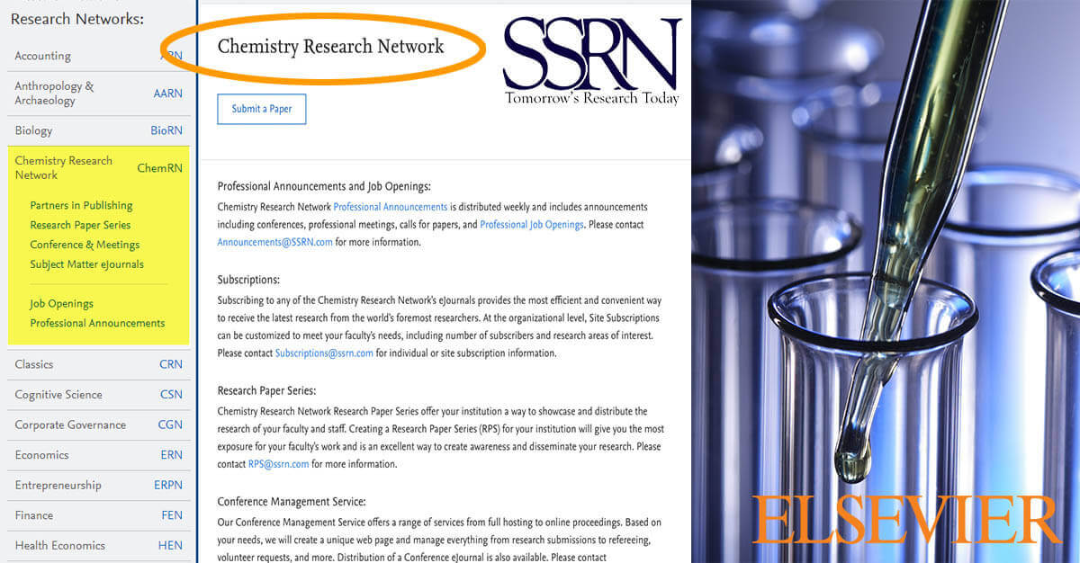 Chemistry research community now has a dedicated network on SSRN — ChemRN